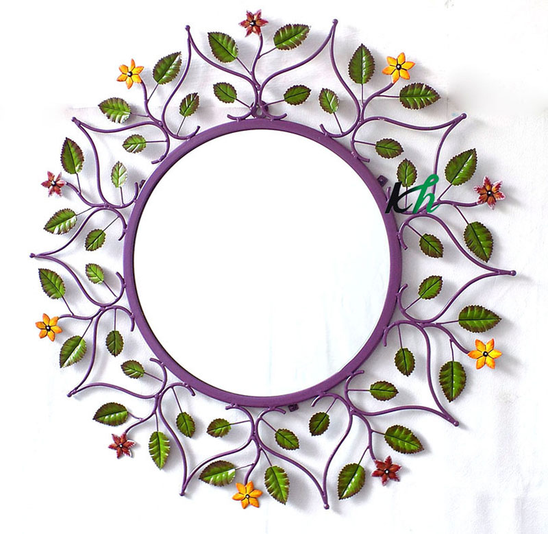 Wall Decorative Hand Painted Leaf Mirror